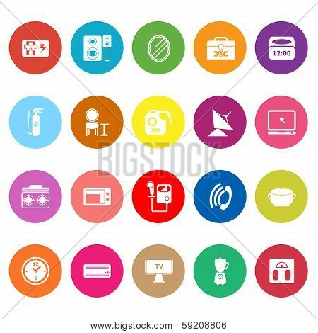 House Related Flat Icons On White Background