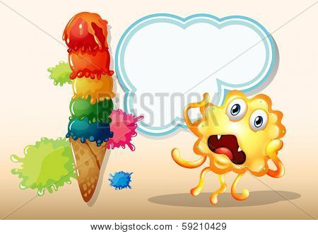 Illustration of a giant icecream beside the monster in front of the empty cloud template
