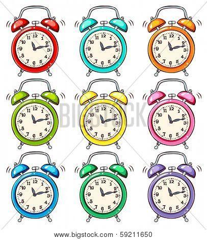 Set of ringing alarm clock