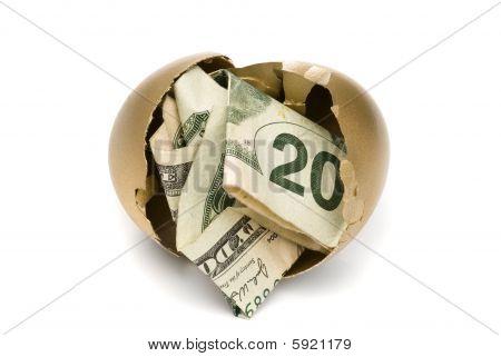 Hatched Golden Egg With Cash