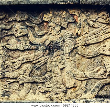 Mayan carving in Chichen Itza Site, Mexico