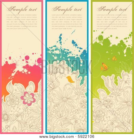 set of three handdrawn vertical floral banners or bookmarks poster