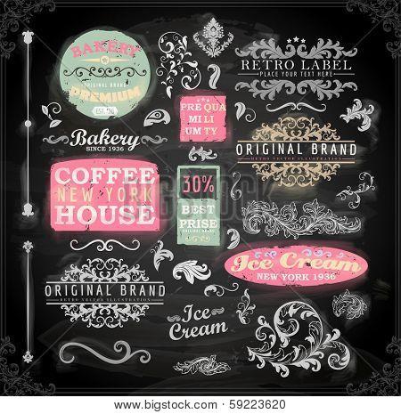 Set of vintage chalkboard bakery logo badges and labels for retro design. Chalkboard illustration variant.
