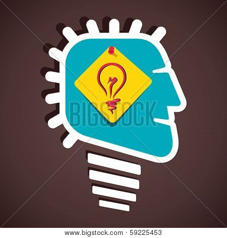 creative bulb sign in human head stock vector