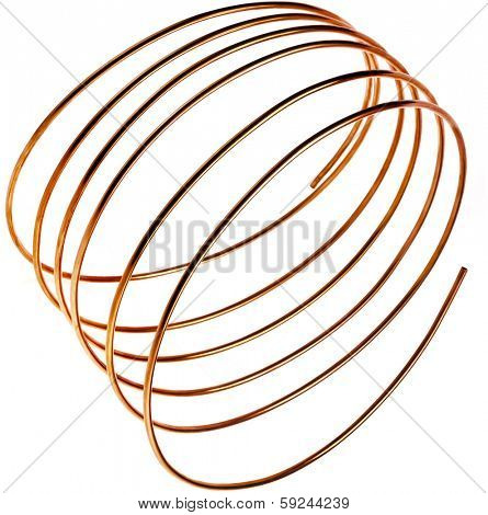 copper wire pipes isolated on white background