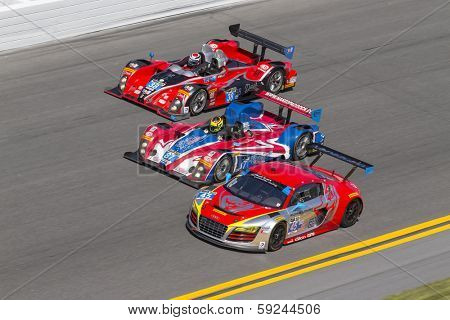 Daytona Beach, FL - Jan 25, 2014:  Performance Motorsports, BAR Motorsports and the Flying Lizard Motorsports at the Rolex 24 at Daytona at Daytona International Speedway in Daytona Beach, FL.