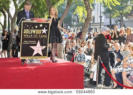 LOS ANGELES - JAN 29: Cheryl Hines, Leron Gubler, Larry David at a ceremony as Cheryl Hines is honored with 2,516th Star on the Hollywood Walk of Fame on January 29, 2014 in Los Angeles, CA