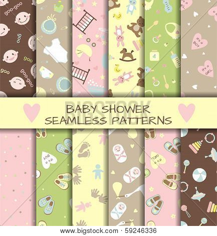 Set of 12 baby shower seamless patterns.