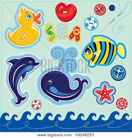 Set of buttons cartoon animals and word SEA - hand made cutout images and letters poster