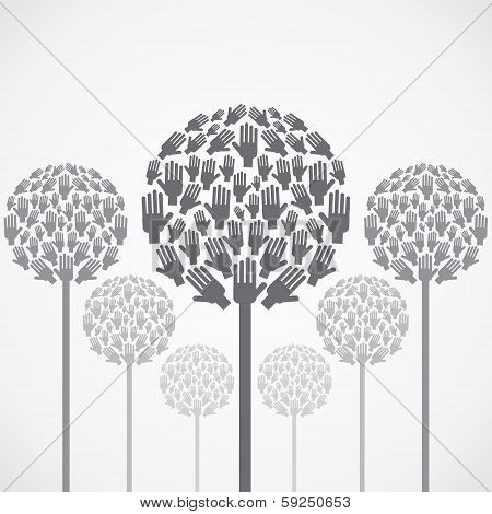 abstract tree design with hand vector