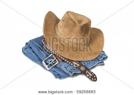 Cowboy hat and accessories isolated over white with clipping path. poster