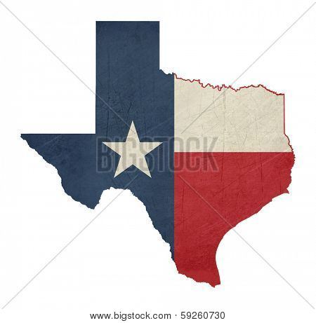 Grunge state of Texas flag map isolated on a white background, U.S.A.