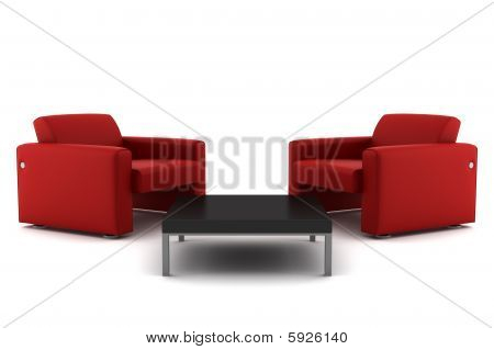 two red armchairs with table isolated on white background