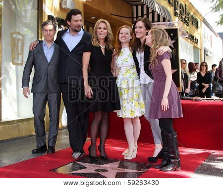 LOS ANGELES - JAN 29: Chris Parnell, Jeremy Sisto, Cheryl Hines, Jane Levy, Carly Chaikin, Allie Grant at the Hollywood WOFCeremony for Cheryl Hines  on January 29, 2014 in Los Angeles, CA
