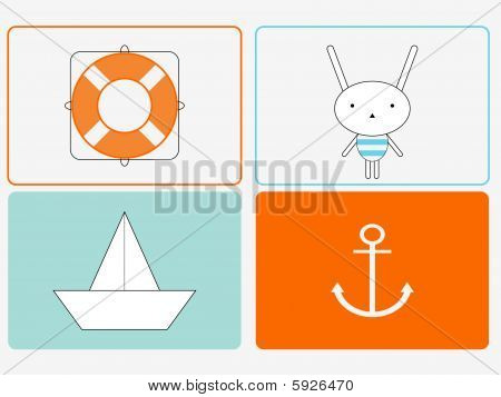Set of four Bunny-the-Sailor designs. Vector illustration. poster