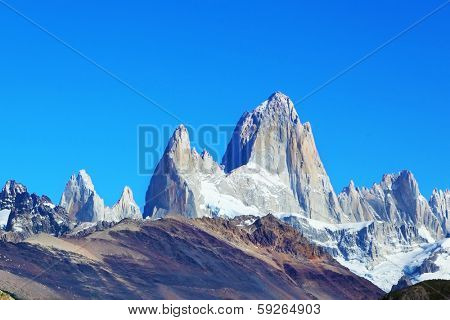 Argentine Patagonia. The famous rocky mountain Fitzroy in glorious weather