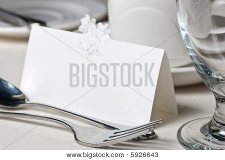 Closeup Of Blank Placecard On Wedding Table