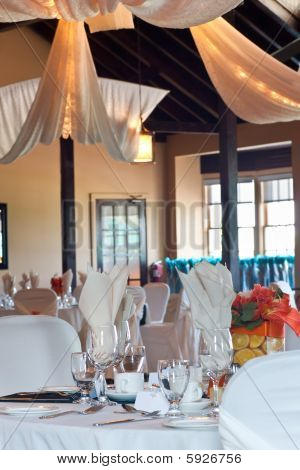 Wedding Venue With Focus On Table Setting