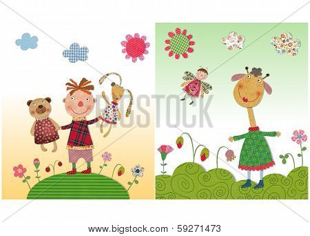 Kid with toys, giraffe and butterfly