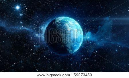 Earth planet - Planète Terre 3D sur fond d'étoile
