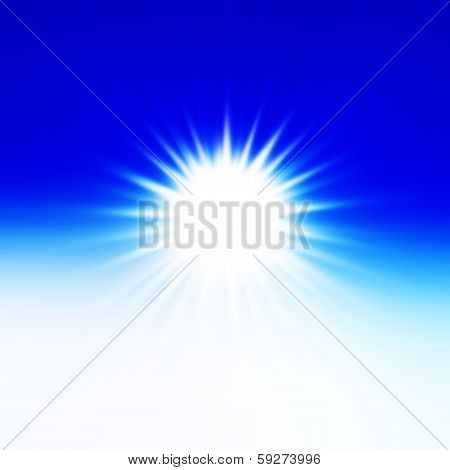 poster of Sun on blue sky with lenses flare, beautiful.