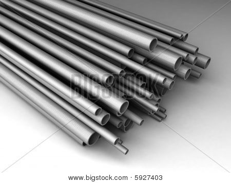 Metal tubes of different sizes