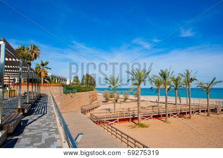Benicasim in Castellon Benicassim beach with Mediterranean sea of spain