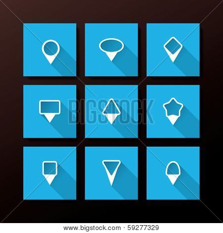 Vector flat icon set - map pin collection poster