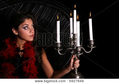 Woman Viewing Candles