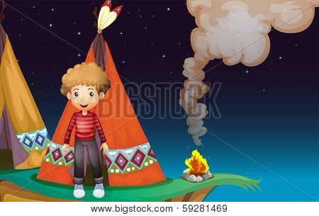 Illustration of a boy camping at the cliff in the middle of the night