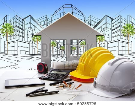 Architect Working Table With Construction Industry And Engineer Working Tool On Top Of Table Use For