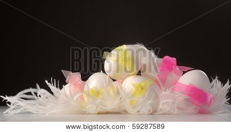 White easter egg in feather against dark background