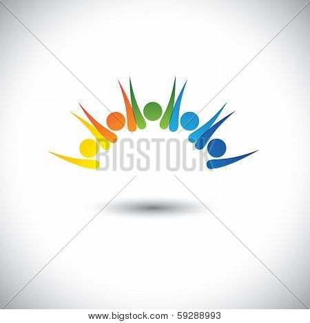 Colorful Happy, Excited People Having Fun - Concept Vector