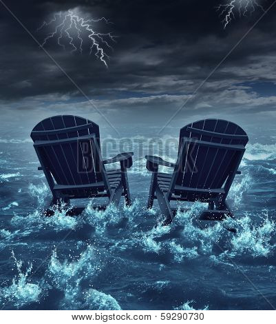 Retirement crisis concept as a couple of adirondack chairs sinking in the ocean during a thunder storm as a metaphor for financial investment problems for retiring seniors who lost their savings or broken dreams symbol. poster