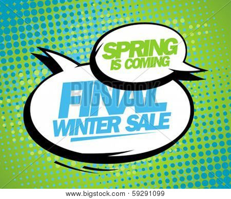 Spring is coming, final winter sale design with balloons.