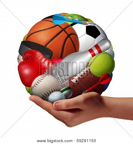 poster of Active lifestyle concept and fun and games symbol with a hand holding a group of sports equipment shaped as a ball as a healthy fitness metaphor for offering physical activity recreation to youth as a pastime.