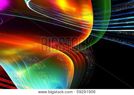 Music Notes, Colorful Illustration On Black Background