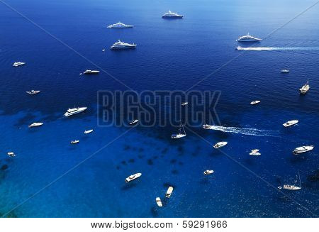 Yachting on the Mediteranean Sea, Capri Island, Europe