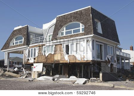 Destroyed beach house in the aftermath of Hurricane Sandy in Far Rockaway, NY.