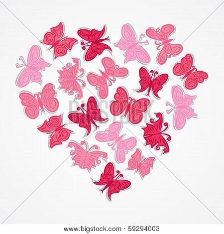 pink heart shape butterfly design vector