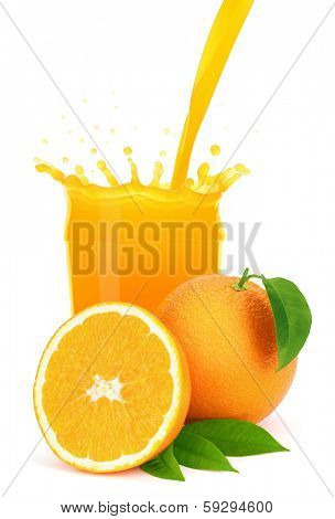 Orange juice pouring into a glass with splash, isolated on the white background, clipping path included.