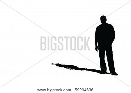 Silhouette Of A Man With A Shadow