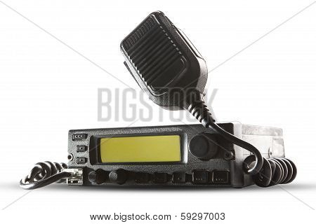 Cb Radio  Transceiver Station And Loud Speaker Holding On Air On White Background Use For Ham Connec