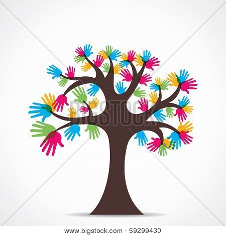 colorful hand tree