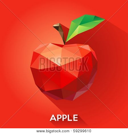 Vector illustration of an apple rendered in a geometric style