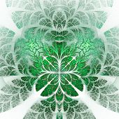 Fabulous fractal pattern in green. Collection - tree foliage. Computer generated graphics. poster