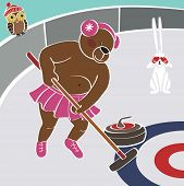 One Brown bear tert Curling.Vector humorous illustration.Winter Sports poster