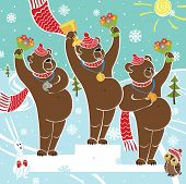 Tree brown bear champion standing on pedestal. Competitions in winter sports. Awarding of the winners.Snow-covered landscape.Humorous illustration cartoon poster