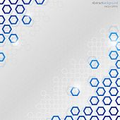 Grey abstract background with blue and white hexagons. poster
