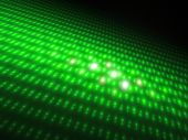 A 3D computer generated fractal image, a neon green textured surface. poster